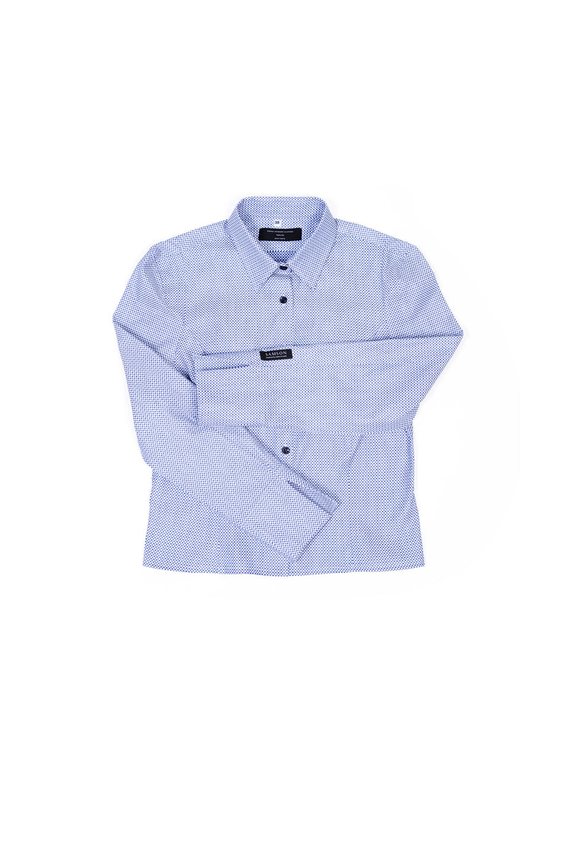 Samson Shirt - Patterned White and Blue