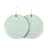Sage Green Vegan Leather Earrings - Round Circle Drop Dangles