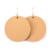 Tan Vegan Leather Earrings - Round Circle Drop Dangles