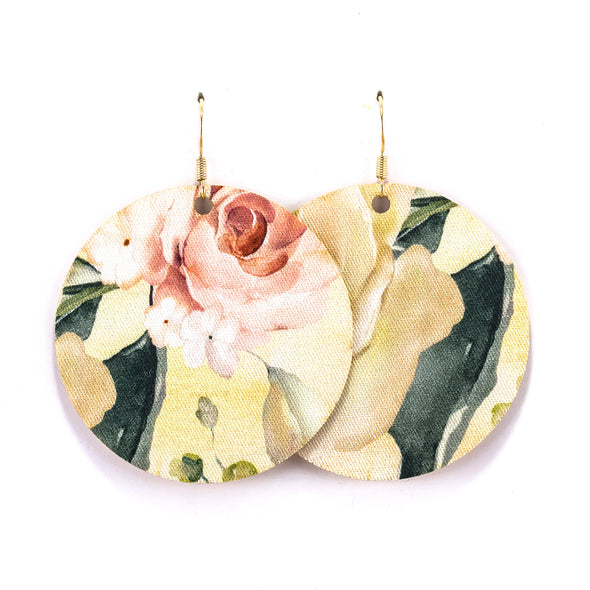 Floral Vegan Leather Earrings - Round Circle Drop Dangles