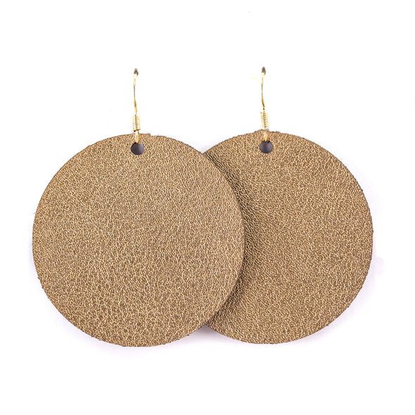 Rose Gold Vegan Leather Earrings - Round Circle Drop Dangles