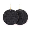 Black Vegan Leather Earrings - Round Circle Drop Dangles