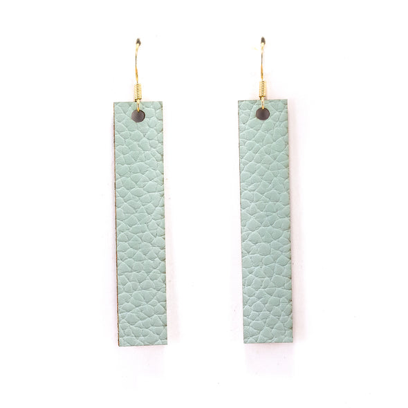 Sage Green Vegan Leather Earrings - Rectangle Drop Dangles