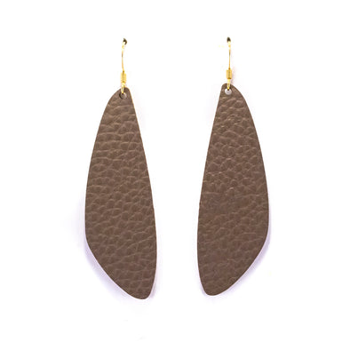 Dark Brown Vegan Leather Earrings - Leaf Drop Dangles