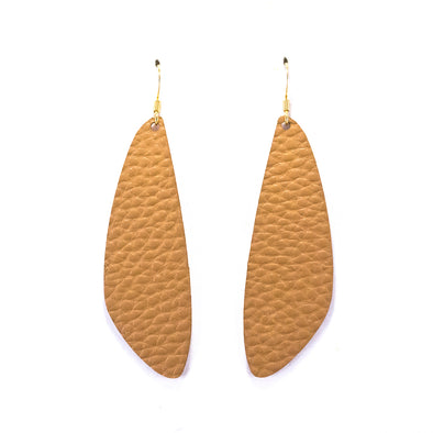 Light Tan Vegan Leather Earrings - Leaf Drop Dangles