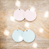Vintage Blush Pink Vegan Leather Earrings - Round Circle Drop Dangles