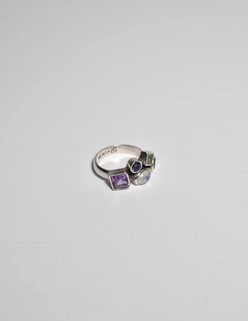 Silver Multi Gemstone Ring