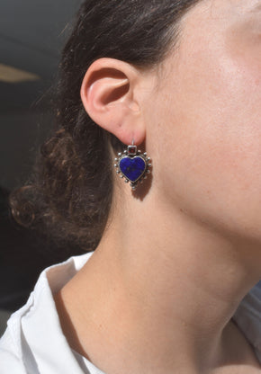 Lapis Heart Earrings