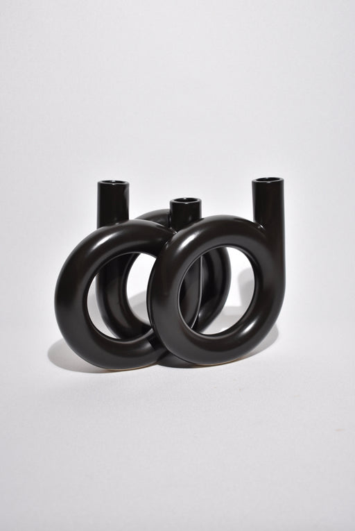 Sculptural Black Ceramic Vase