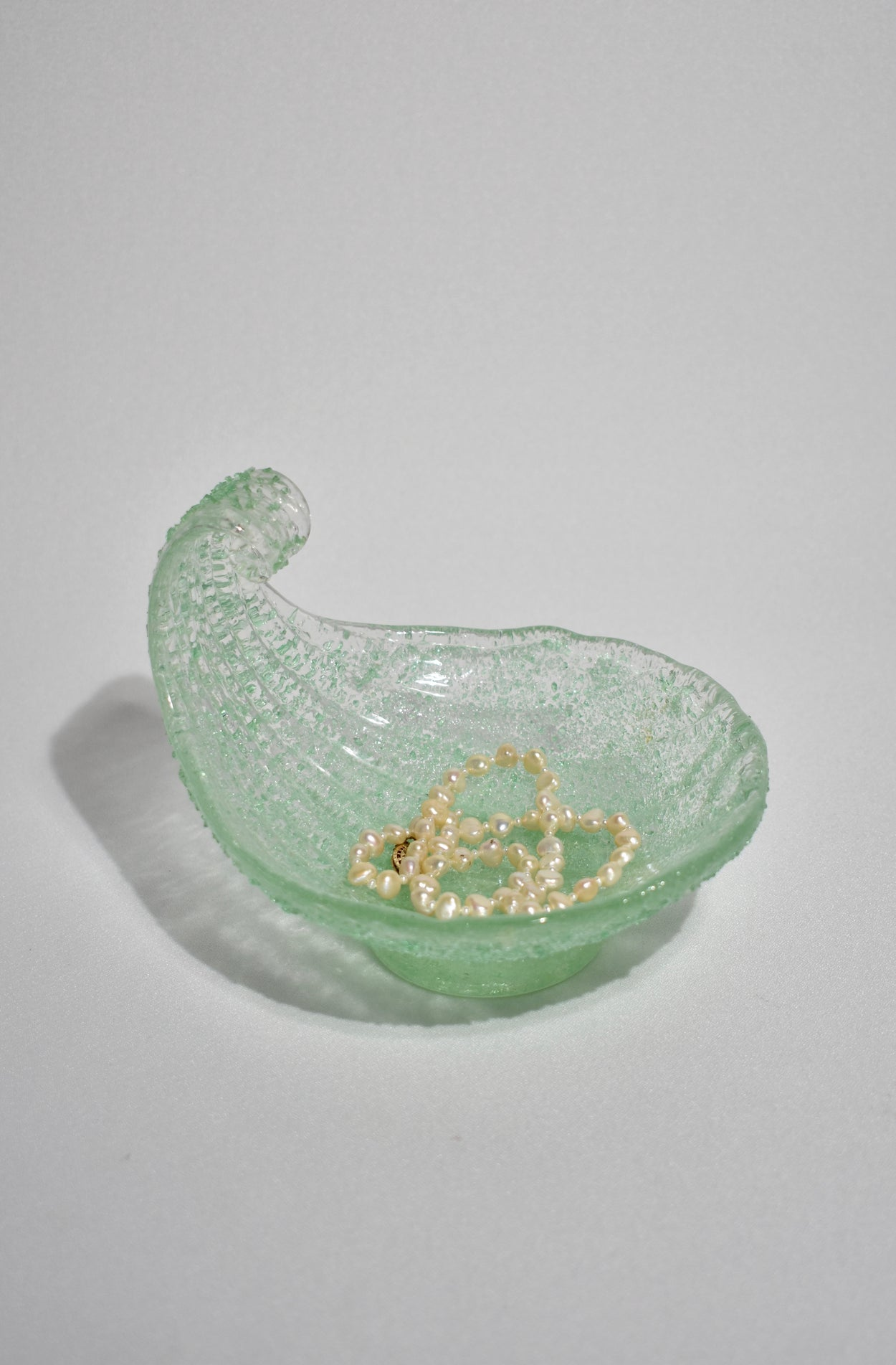 Green Glass Shell Dish