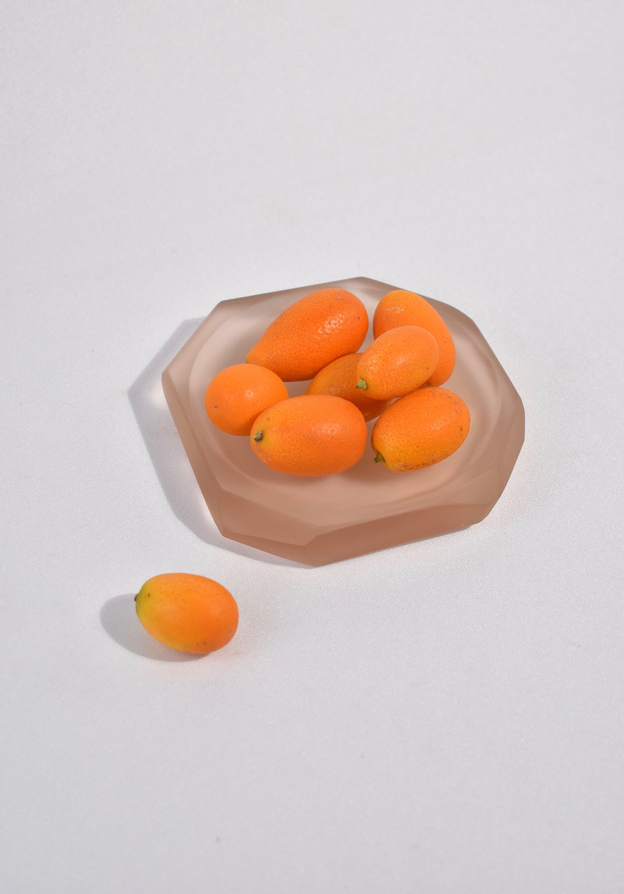 Faceted Glass Dish in Almond