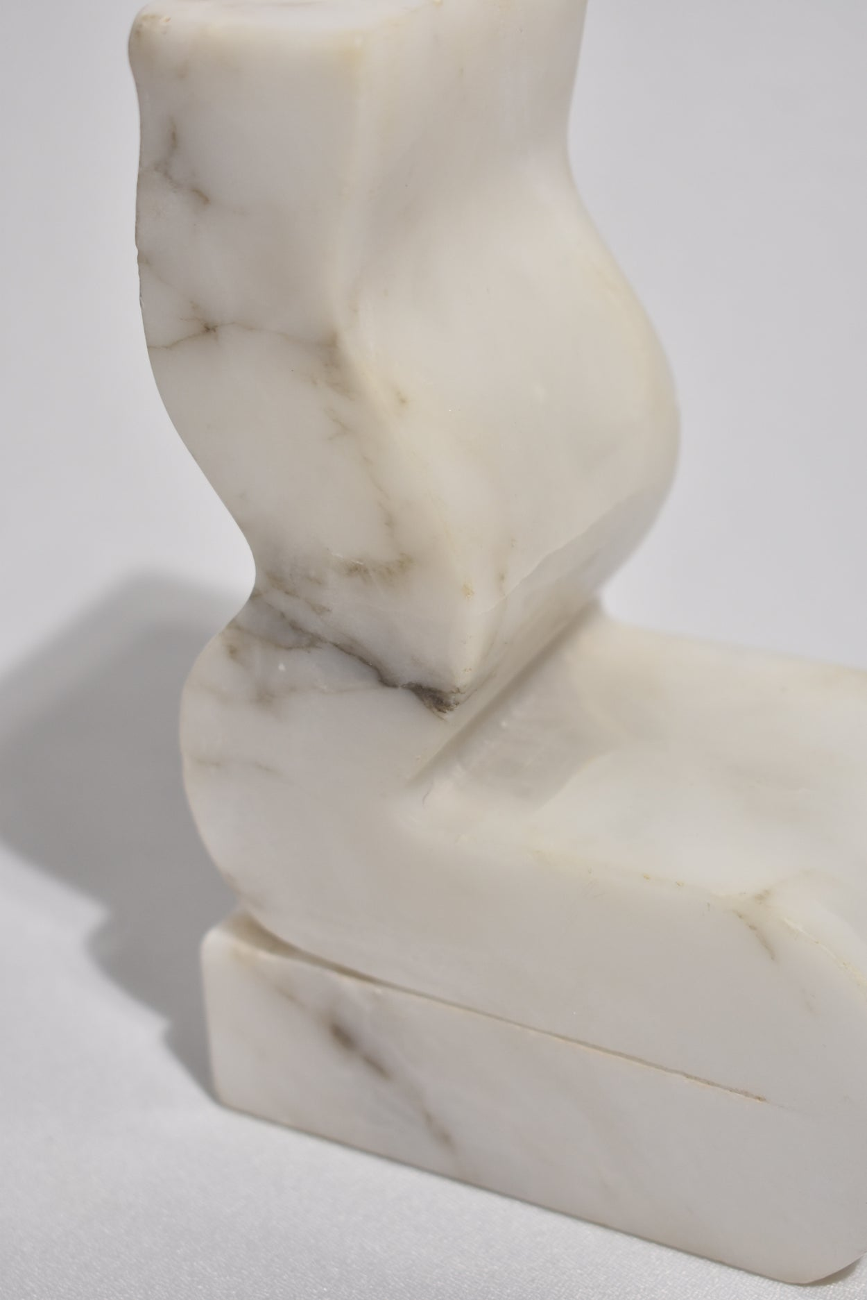 Sculptural White Marble Bookends
