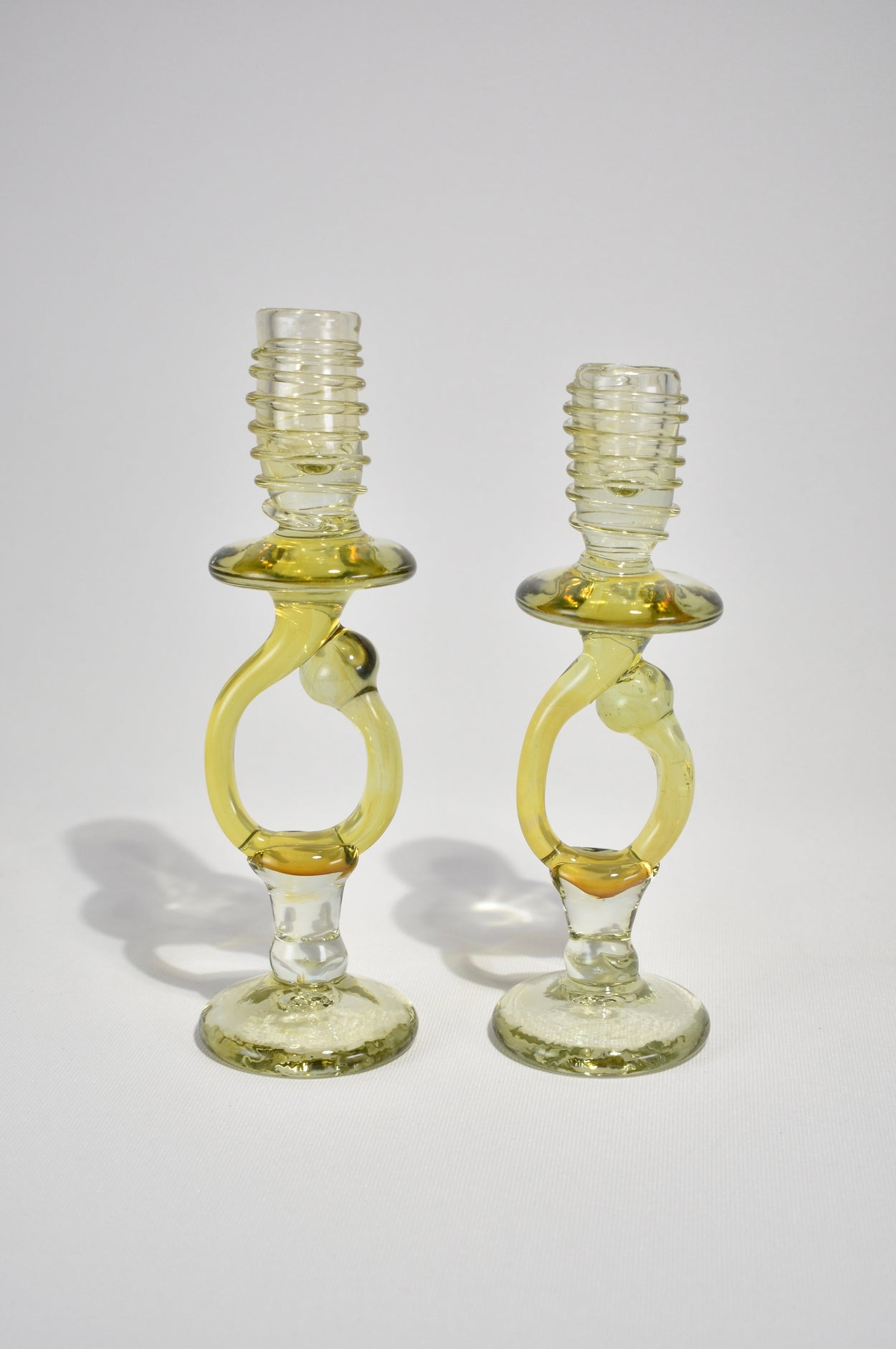 Blown Glass Candleholder Set