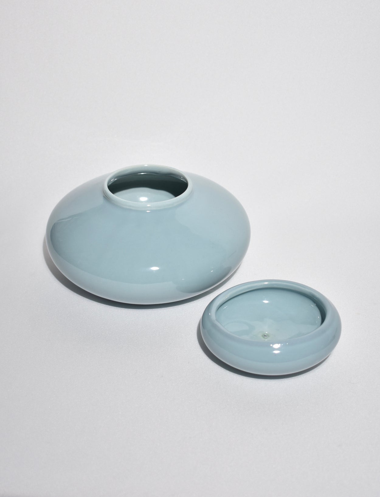 Powder Blue Ceramic Lidded Vessel