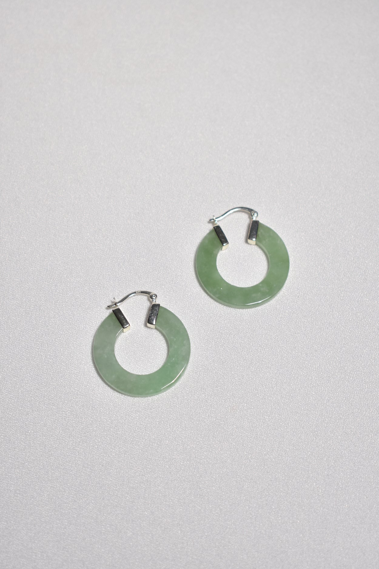 Flat Jade Hoop Earrings