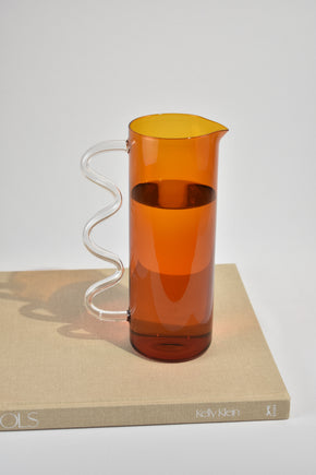 Wave Pitcher in Amber/Clear