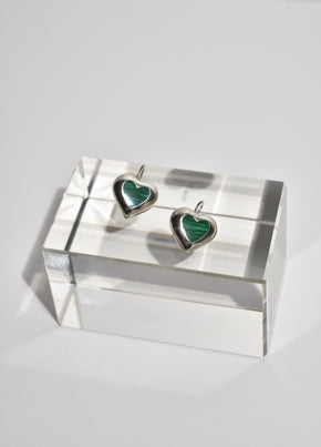 Malachite Heart Earrings