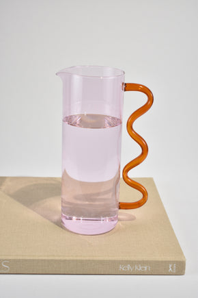 Wave Pitcher in Pink/Amber