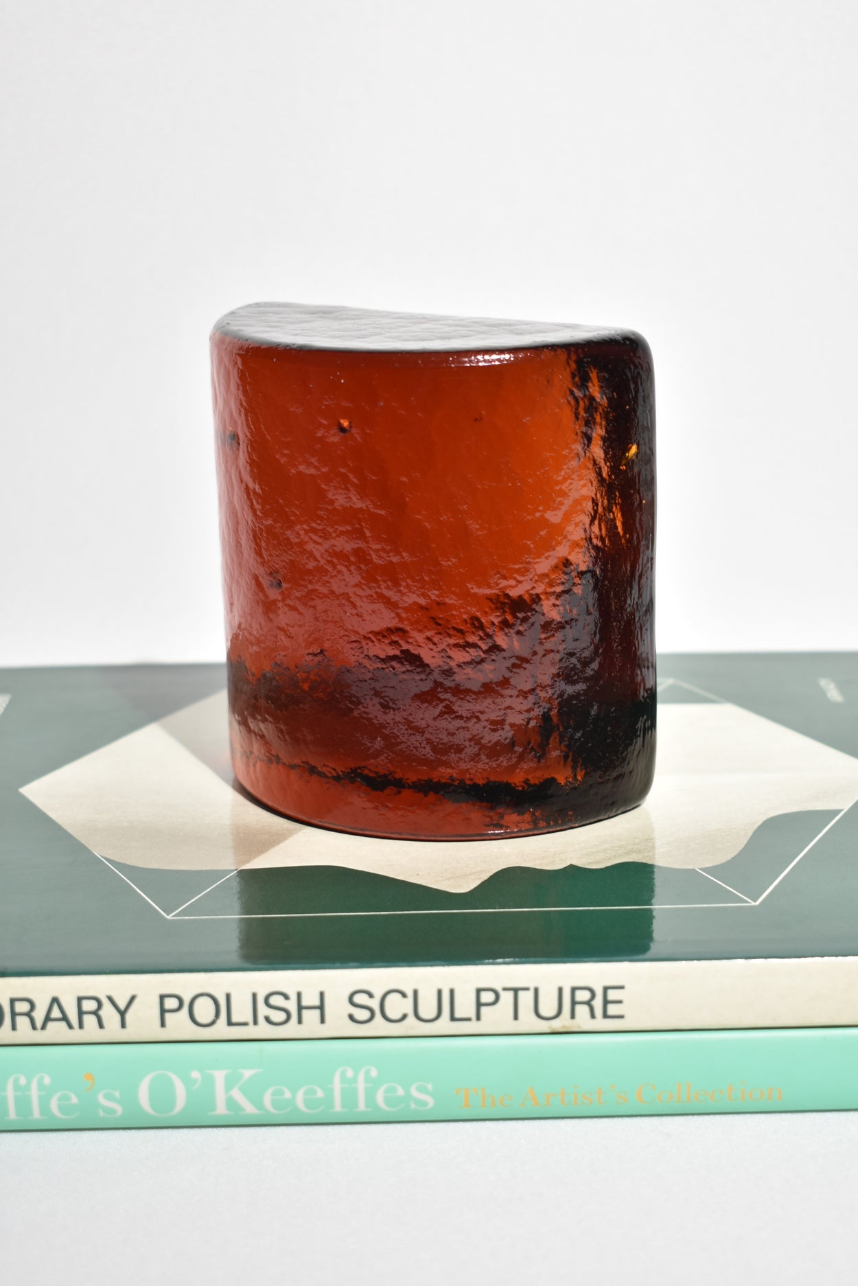 Dark Amber Glass Bookends