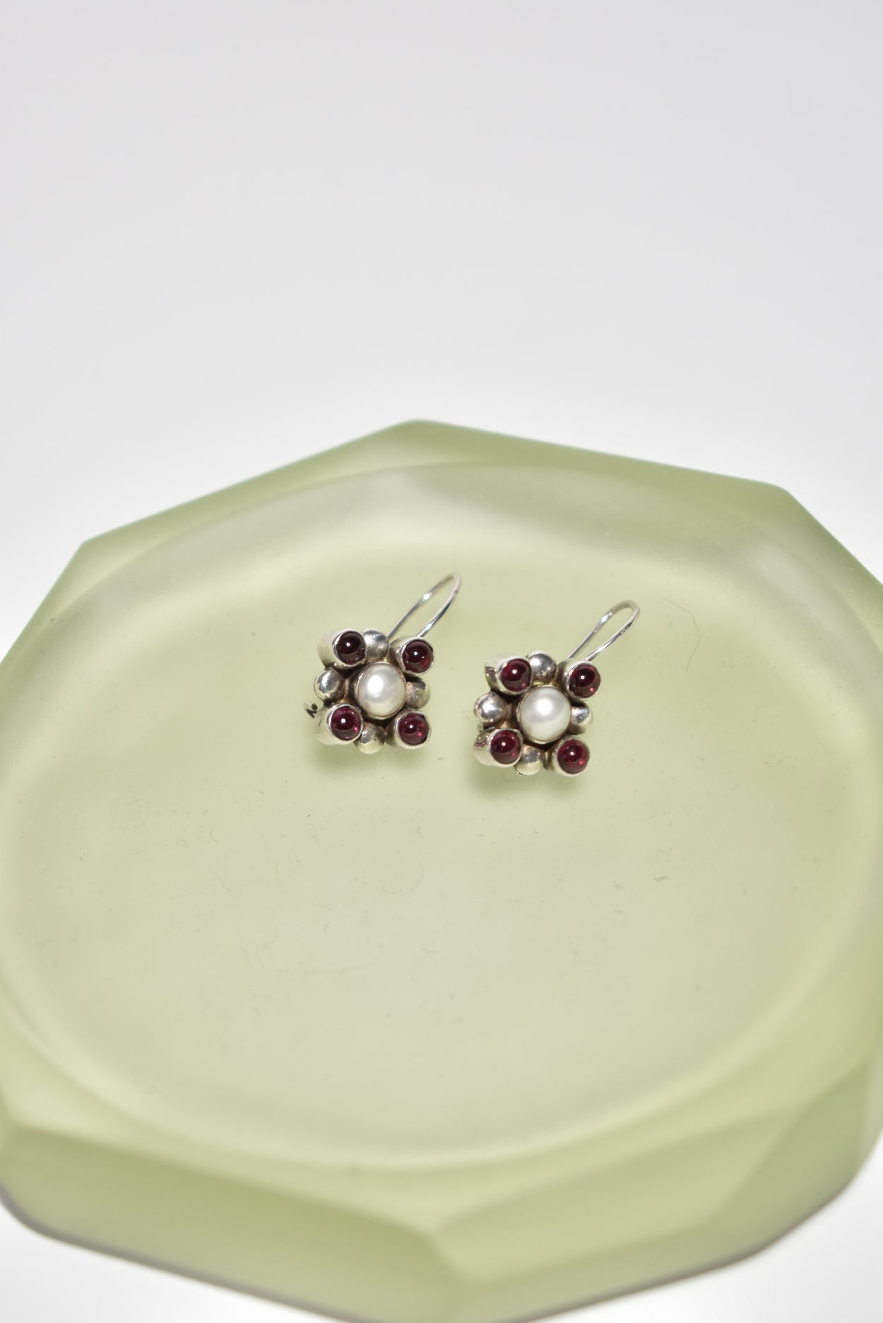Garnet Pearl Earrings
