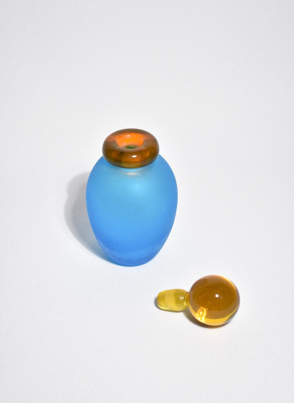 Italian Perfume Vessel in Aqua/Orange