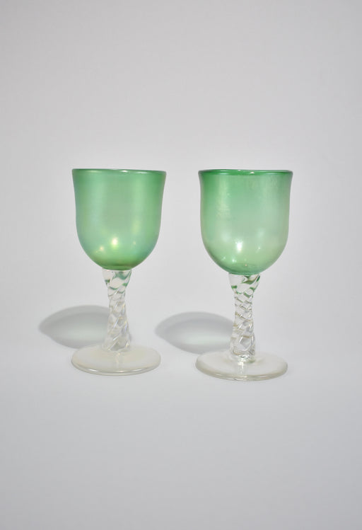 Iridescent Green Goblet Set