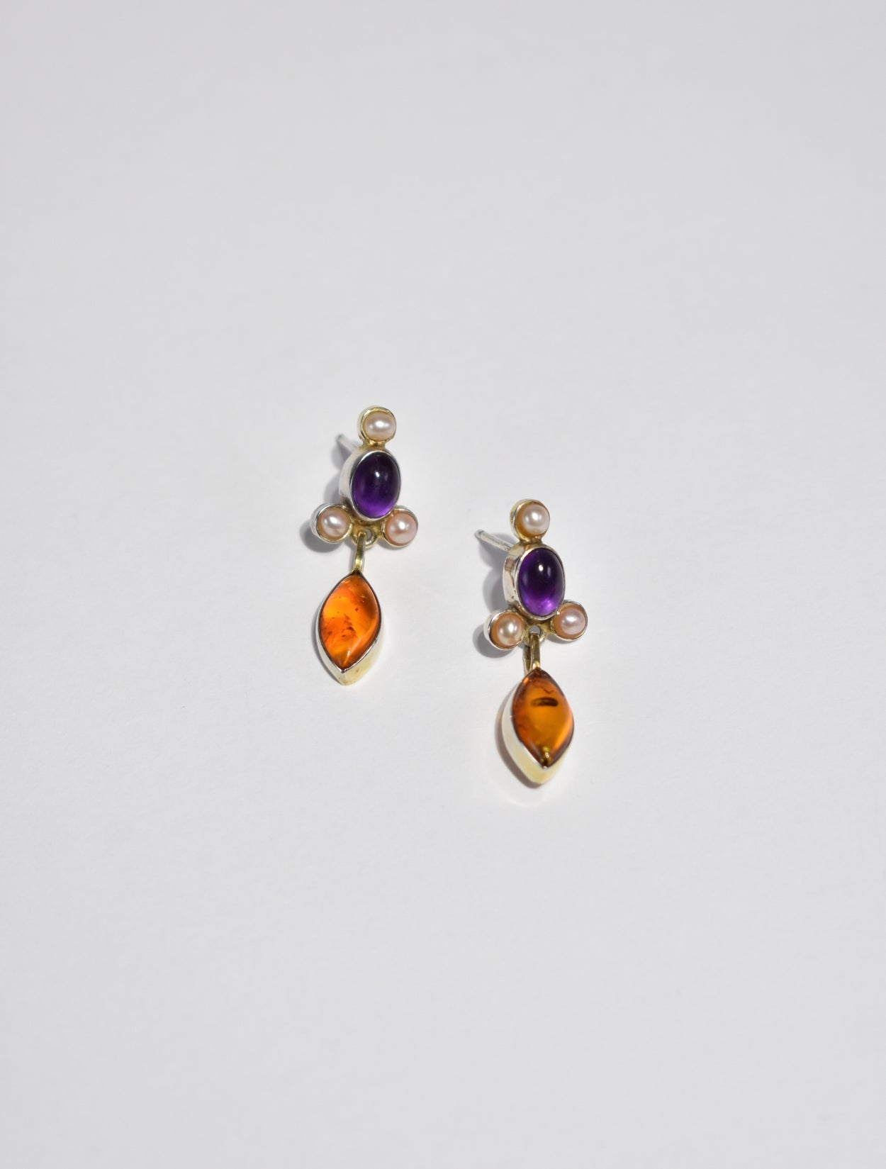 Amethyst Amber Pearl Earrings