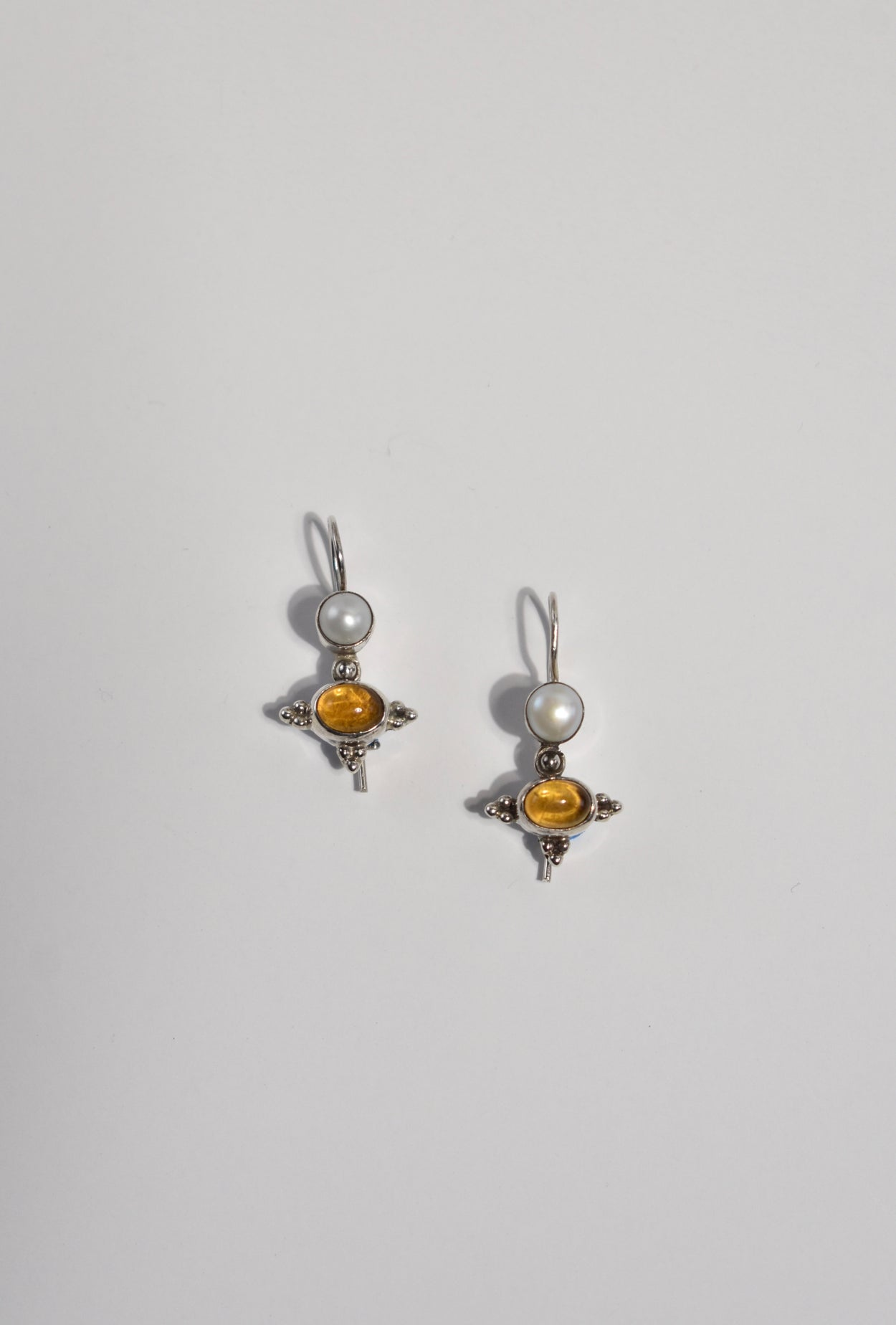Citrine Pearl Earrings