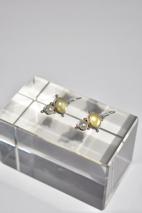 Sterling Yellow Pearl Earrings