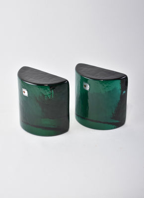 Teal Glass Bookends