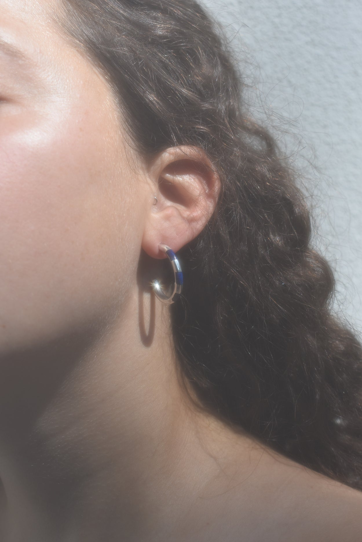 Sterling Lapis Hoops