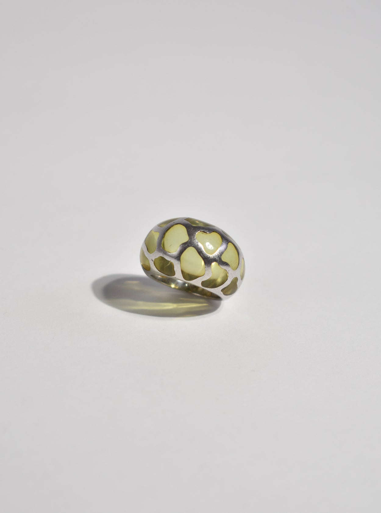 Sculptural Sterling Glass Ring
