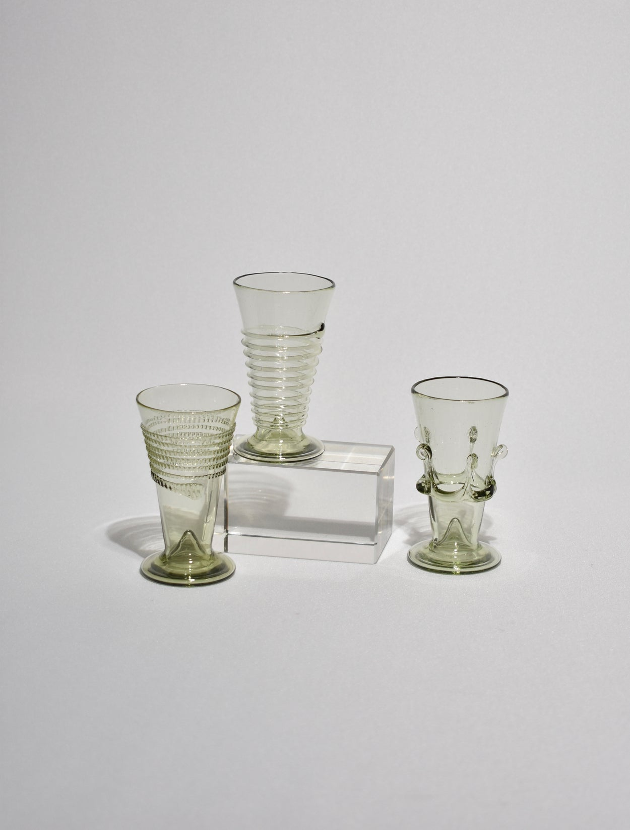 Green Glass Cordial Set of Six