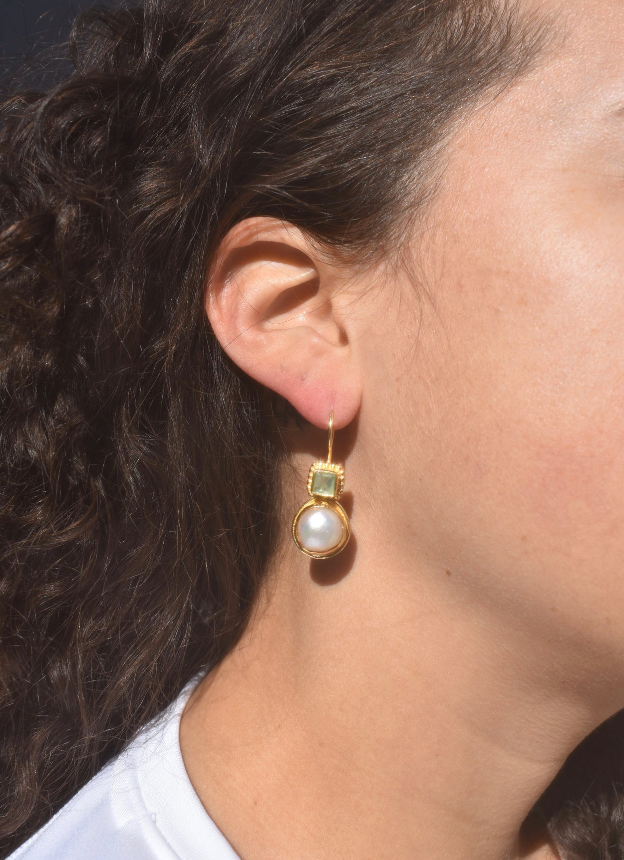Gold Pearl Stone Drop Earrings