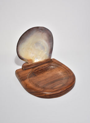 Shell Hinge-Lidded Wood Box