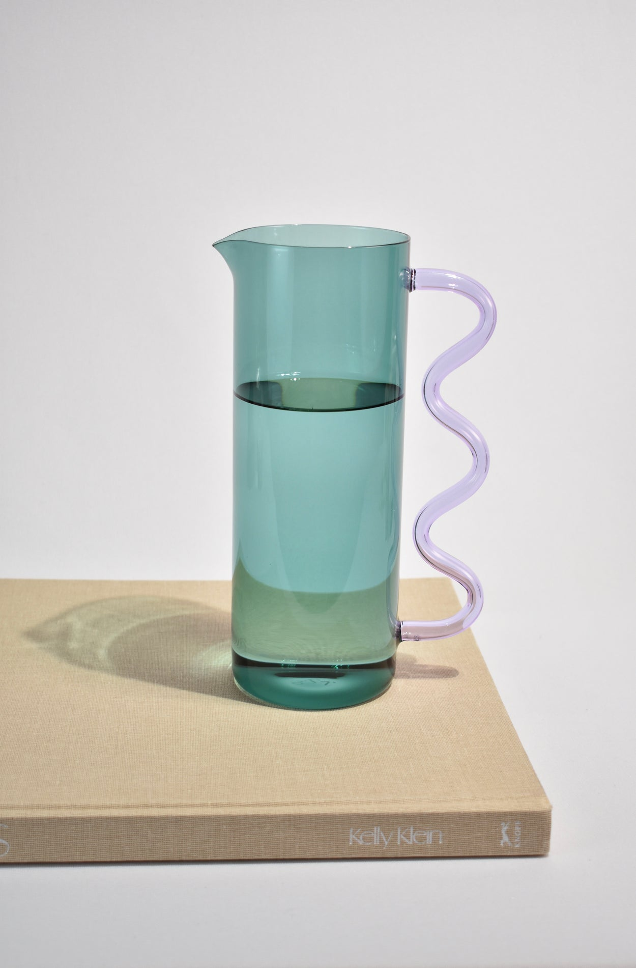 Wave Pitcher in Teal/Lilac