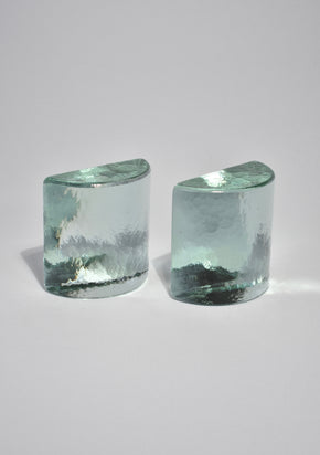 Half Moon Glass Bookends