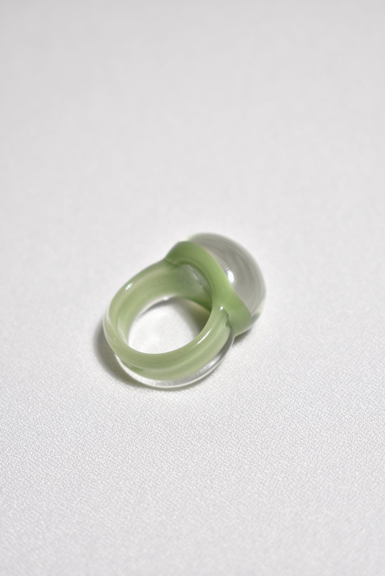 Green Dome Glass Ring