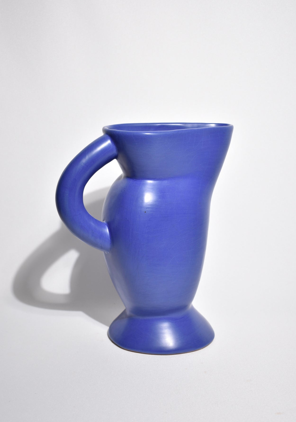 Sculptural Blue Ceramic Pitcher