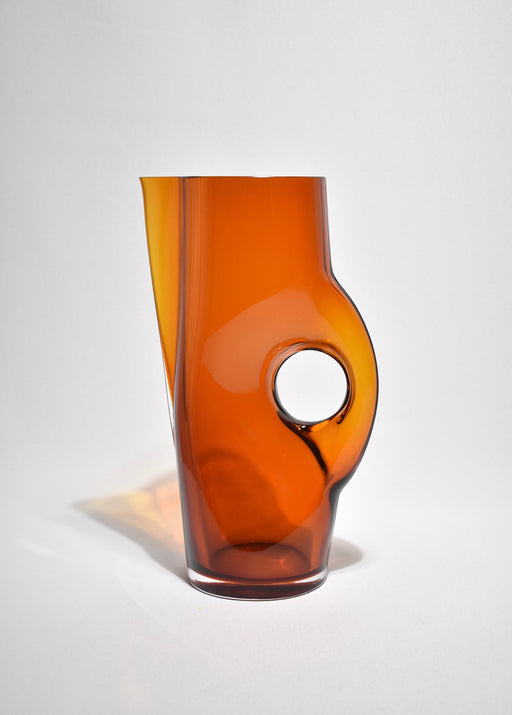 Sculptural Amber Glass Decanter