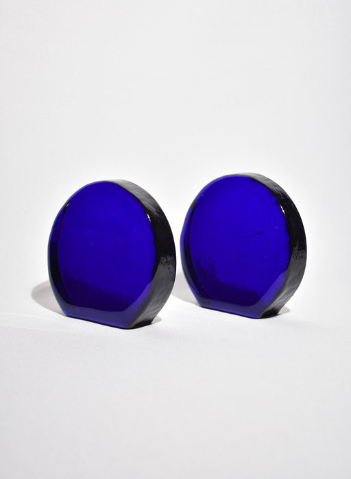 Round Blue Glass Bookends