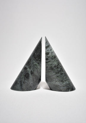 Sculptural Green Marble Bookends
