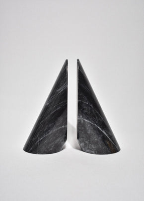 Sculptural Black Marble Bookends