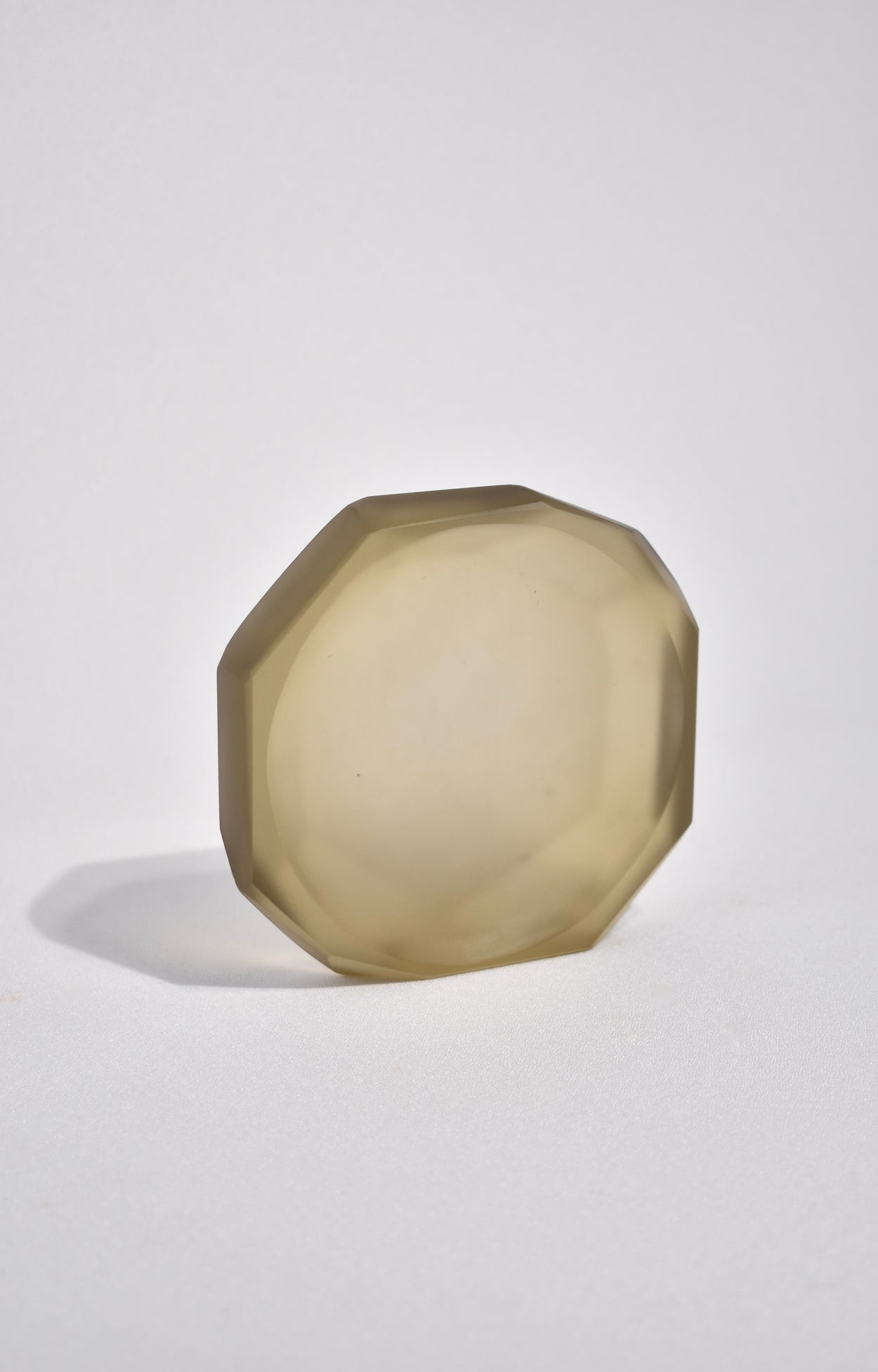 Faceted Glass Dish in Topaz