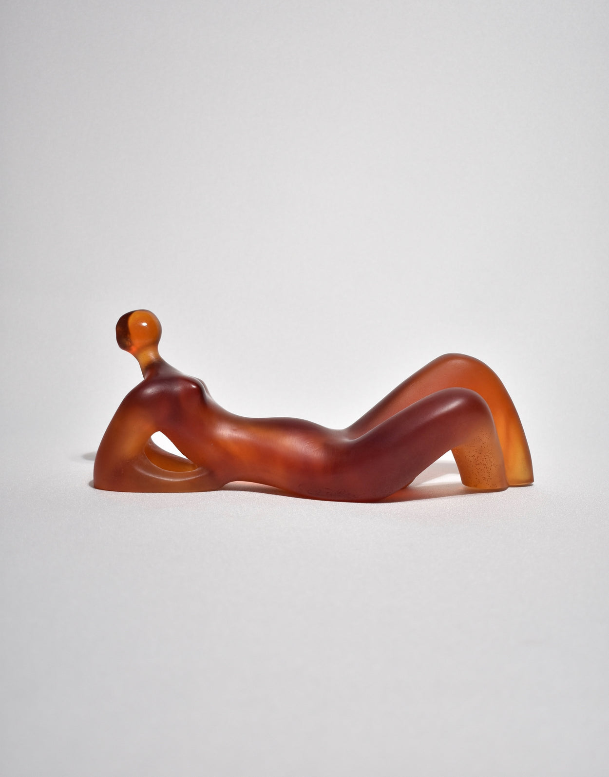 Elongated Woman' Glass Sculpture in Amber