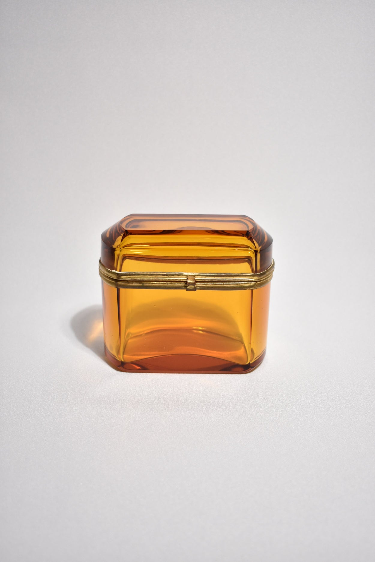 Amber Glass Hinged Box