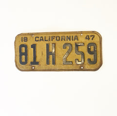 Vintage California License Plate (1947)