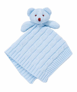 Baby Mode Cable Knit Lovey Bear Light Blue