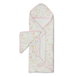 Loulou Lollipop Hooded Towel and Washcloth Set Unicorn Dream