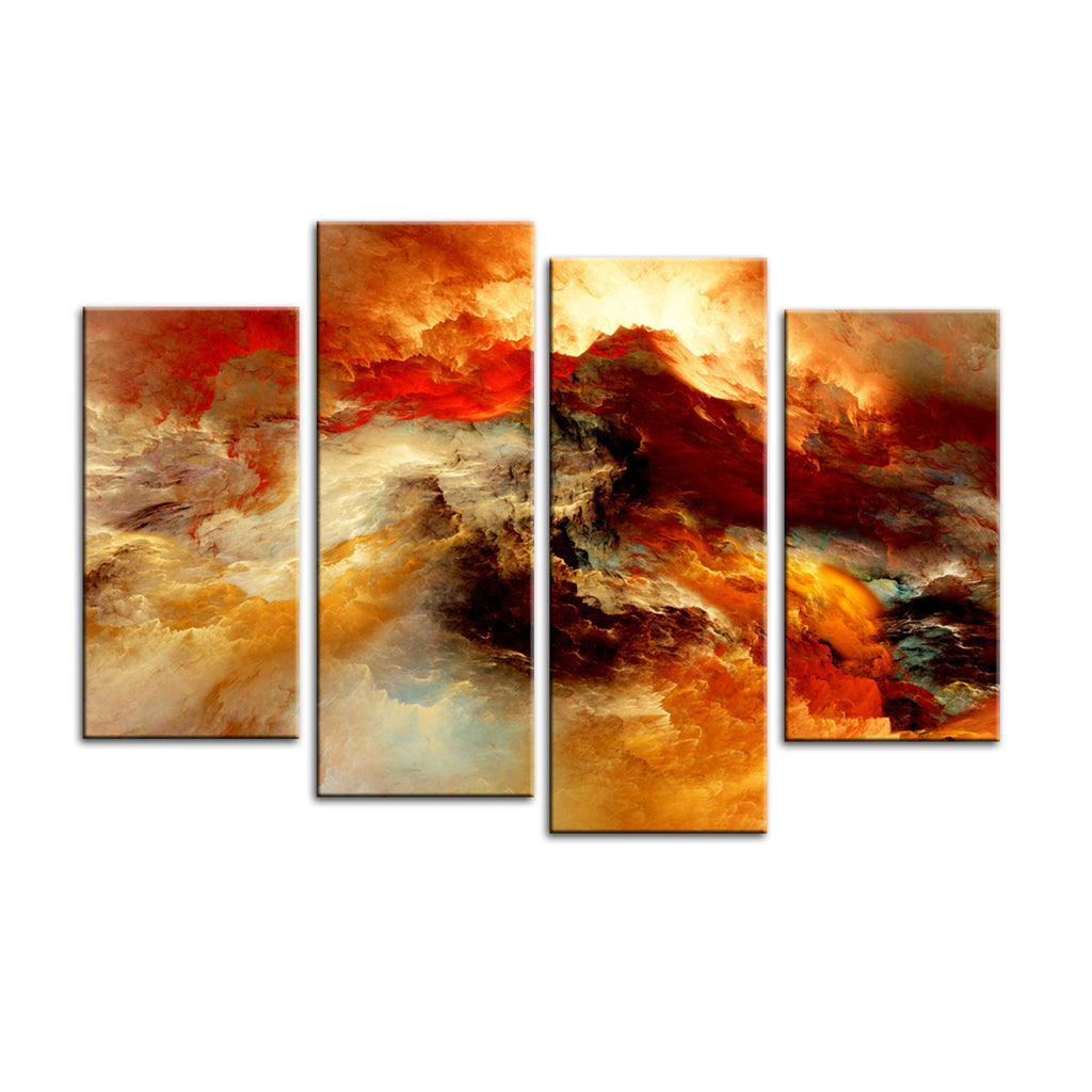 Abstract Painting Canvas Prints Wall Art   4 Panel Framed Oil Paintings  Reproduction For Home And